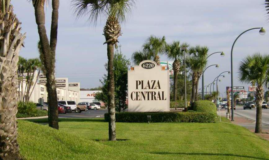 A busy commercial plaza on Orange Blossom Trail in Orlando.